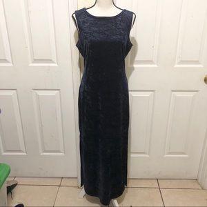 All That Jazz Blue Velvet Maxi Dress w/ Side Slits